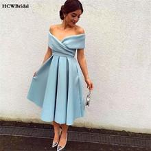 2019 מנטה כחול קצר שמלות נשף כבוי כתף קו הברך אורך אלגנטי נשים מסיבת חתונת שמלות זול אירוע שמלה