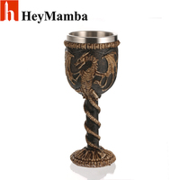 HeyMamba 3D Dragon Stainless Steel Beer Steins Personality Whiskey Resin Glass Wine Goblet Replica Cup Decor