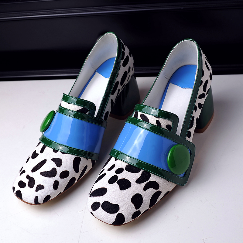 ФОТО Women's Spring Chunky Heel Square Toe Designer Buckle Fashionable Female Comfortable Heels Shoes Horse Hair Pumps High Heels Hot