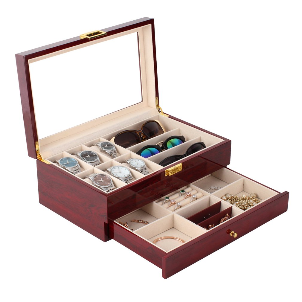 OUTAD Luxury Red Wooden Watch Box Double Layers 6+3 Grids Watch Holder Glassess Storage Rings Bracelet Jewelry Display Casket russia s old elm purple yu pure real wood double box box jade jewelry bracelet receive a cassette of the lock