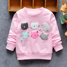 Baby Girl Pullover Autumn Cartoon Cat Print Girls Sweatshirts Casual Kids Clothes Long Sleeve Girls Clothing
