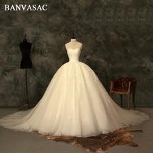 BANVASAC Bollkjole Bröllopsklänningar Spets Appliques 2018 Stroplösa Verkliga Foton Plus Storlek Broderi Domstol Tåg Brudklänningar