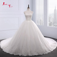 Jark Tozr New Special Sweetheart Neck Lace Up Chapel Train Beaded Appliques Gorgeous Ball Gown Wedding