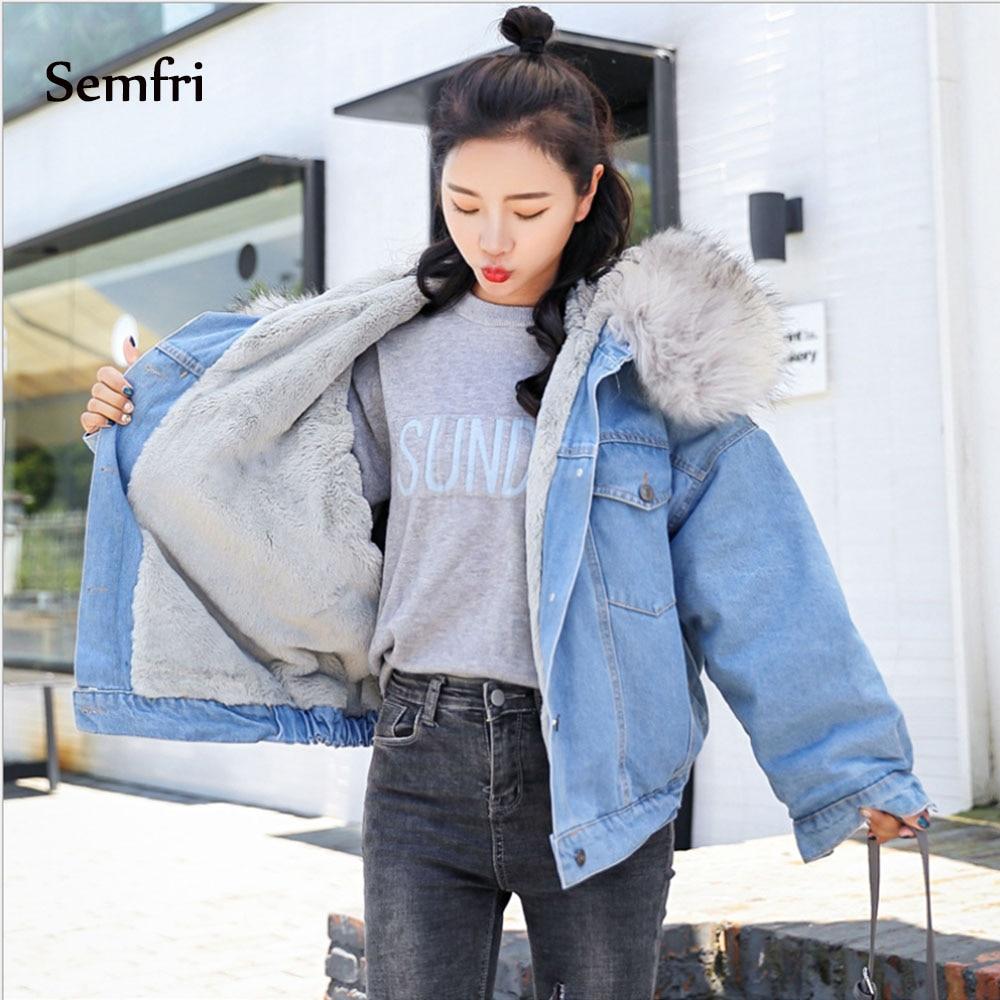 Semfri Women's Winter Thick Jean Jacket Faux Fur Collar Fleece Hooded Denim Coat Female Padded Warm Coats Outwear Dropshipping
