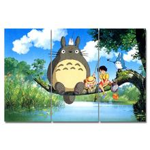 цена на My Neighbor Totoro Anime Movie Poster Oil Paintings Wall Art Canvas pictures Print Canvas home Decor for Bar LivingRoom framed