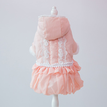 Hipidog Dogs Autumn Winter Princess Hoodie Lace Dress Purple Pink Warm Cotton Thicken Pets Coat  For Small Dog Chihuahua Poodle