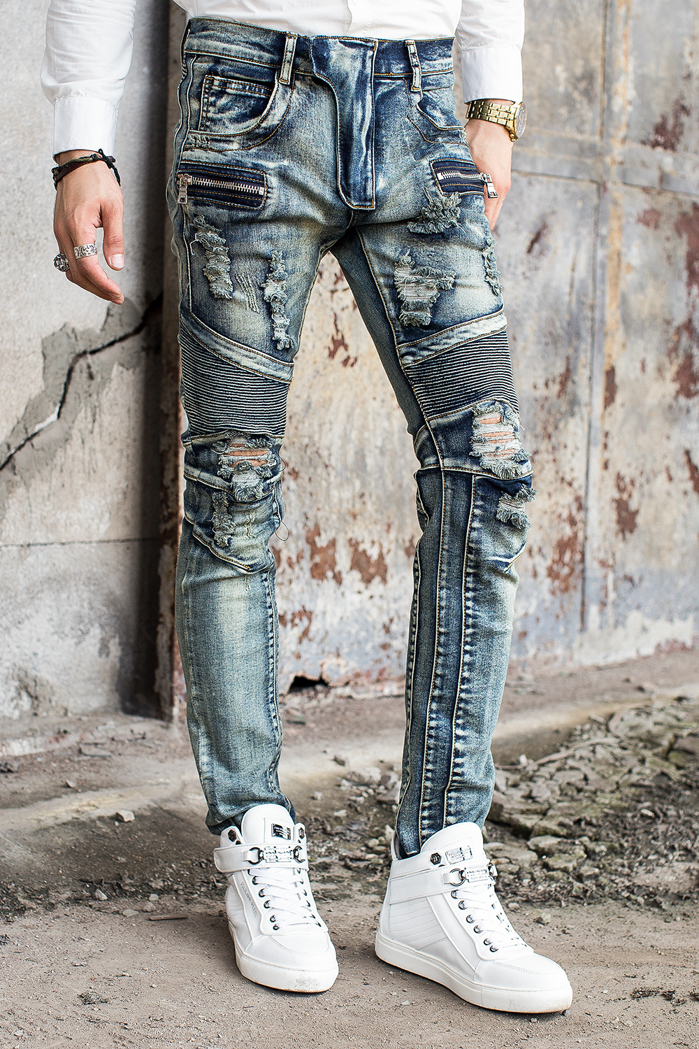 Free Shipping High Quality Design Biker Jeans Men Slim Fit Skinny Straight Mens Jeans With Holes