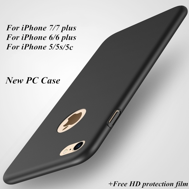 New High quality hard PC case for iPhone 5  5S 6 6S Plus 7 7 Plus Ultra-thin Luxury Back cover Protective case + Free HD film