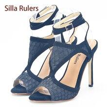 Silla Линейки Размеры 34–43 Для женщин босоножки на высоком каблуке открытый носок Обувь Для женщин Ремешок на щиколотке Пряжка полые сандалии женская повседневная обувь