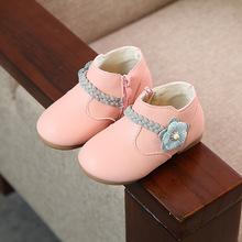 Dziewczyny skórzane buty dla dzieci wodoodporne buty dla dzieci moda dla dzieci kostki buty na suwak boczne antypoślizgowe miękkie kwiaty dziewczyny księżniczka buty tanie tanio Cuteeword Unisex Krowa mięśni Pasuje prawda na wymiar weź swój normalny rozmiar Mieszkanie z 12 m 18 m 30 M 24 m Skóra