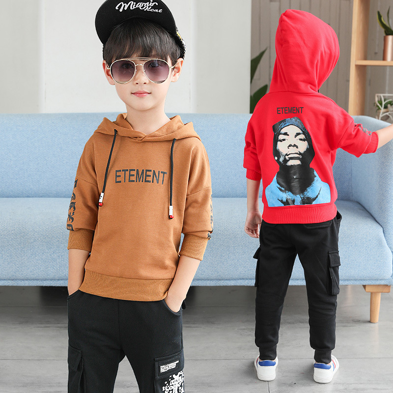 Kids Sports Suits Boys Hooded Long Sleeve Sweatshirt + Pant 2pcs Teenager Girls Fashion Clothes Fall Kids Clothes 3 4 6 8 10 12 casual fall style black long sleeve lace up sweatshirt