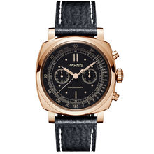 Parnis Pilot Seriers Luminous Mens Leather Watchband Military Sport Chronograph Quartz Watch Wristwatch