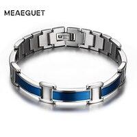 Healthy Good For Body Men Magnetic Bracelets Bangles Stainless Steel Body Care Blue Bracelet Men For