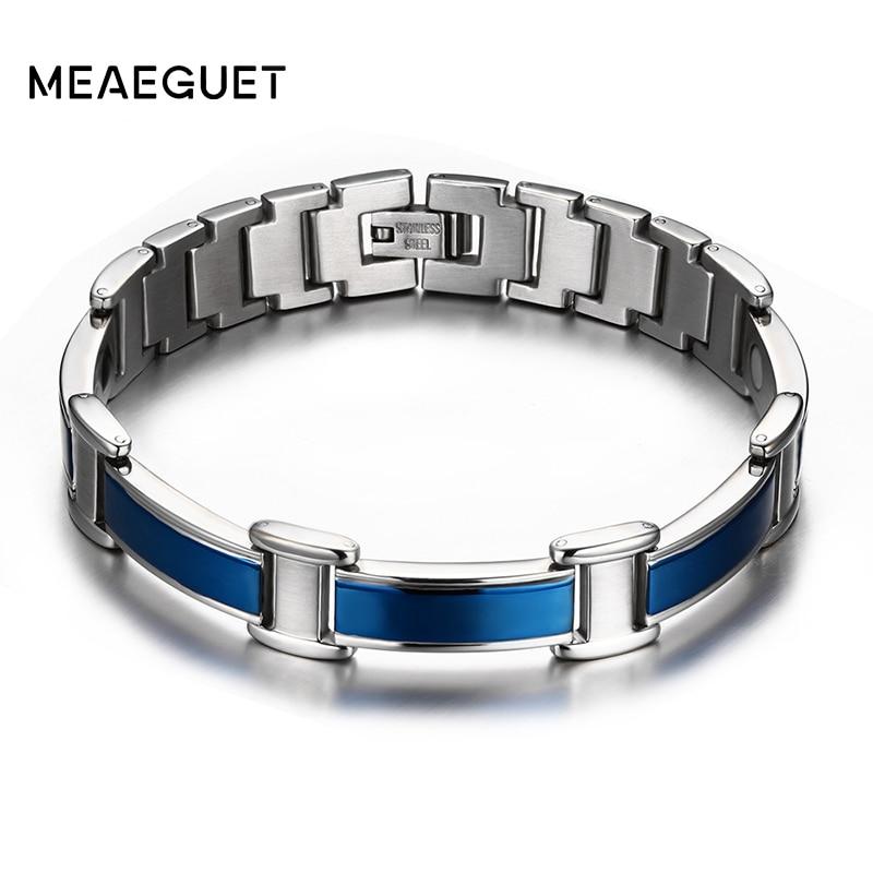 Meaeguet Sano magnetico di salute del germanio bracciali e braccialetti in acciaio inox per la cura del corpo blu del braccialetto degli uomini