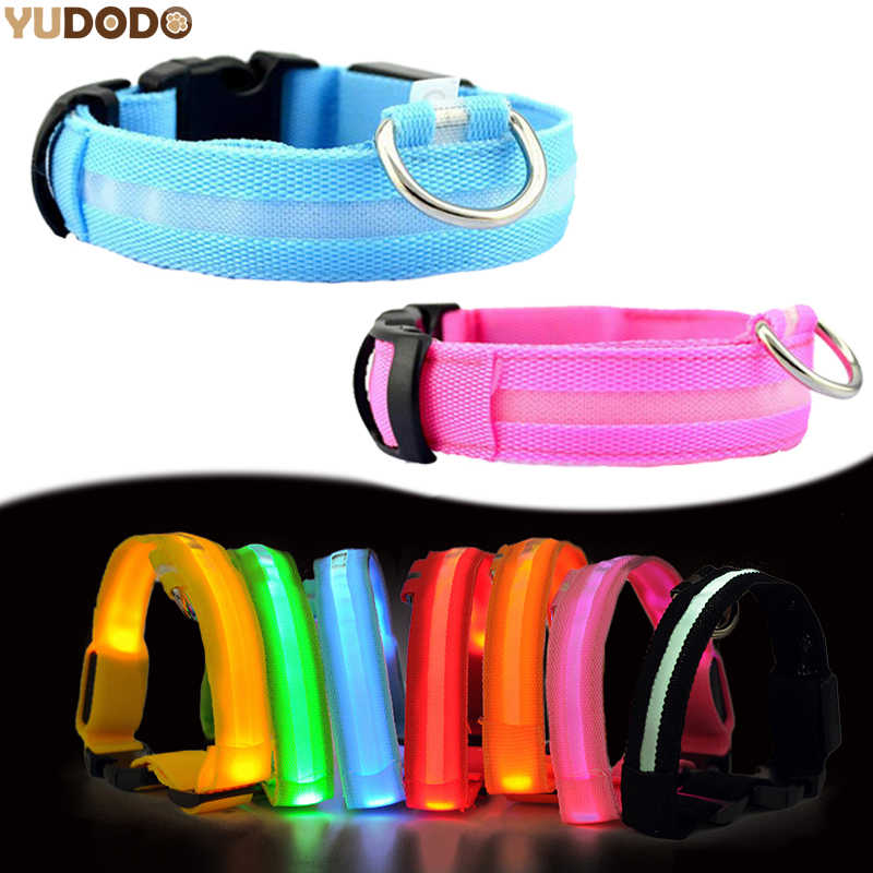 LED di Nylon Dell'animale Domestico Del Collare di Cane, di Notte di Sicurezza Lampeggiante Glow In The Dark Guinzaglio Del Cane, cani Luminoso Fluorescente Collari Per Cani Pet