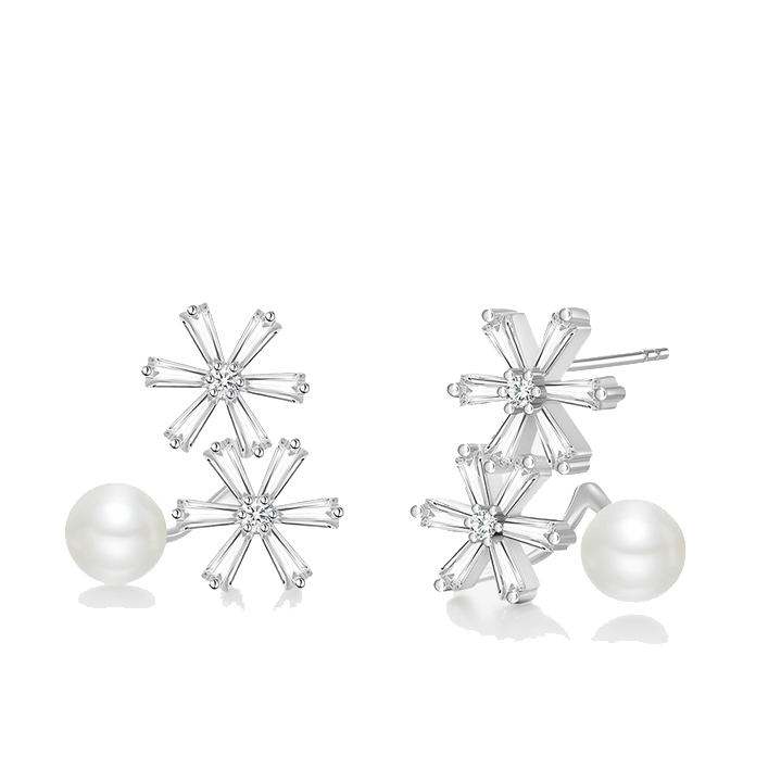 [MeiBaPJ]Real S925 Sterling Silver Snowflake Stud Earrings Fashion Personality Temperament All match for Women
