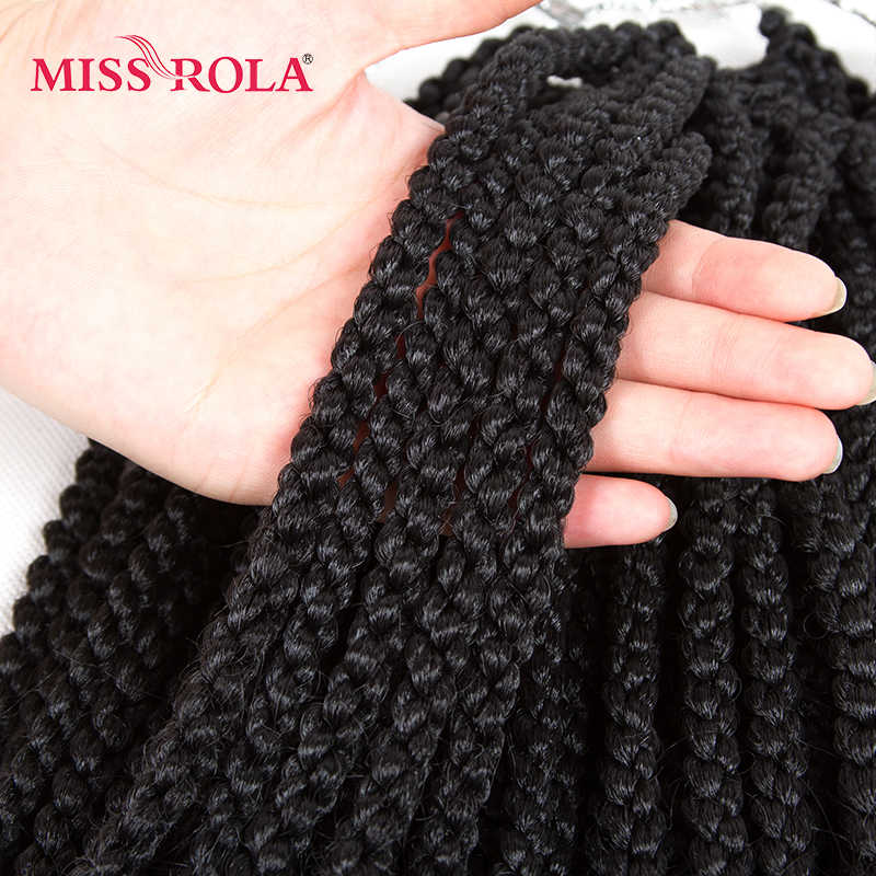 Miss Rola 4D Braid Synthetic Hair Extensions 1B# Kanekalon Low Temperature Fiber Curly Crochet Braids Hair 12 inch 5pc a lot