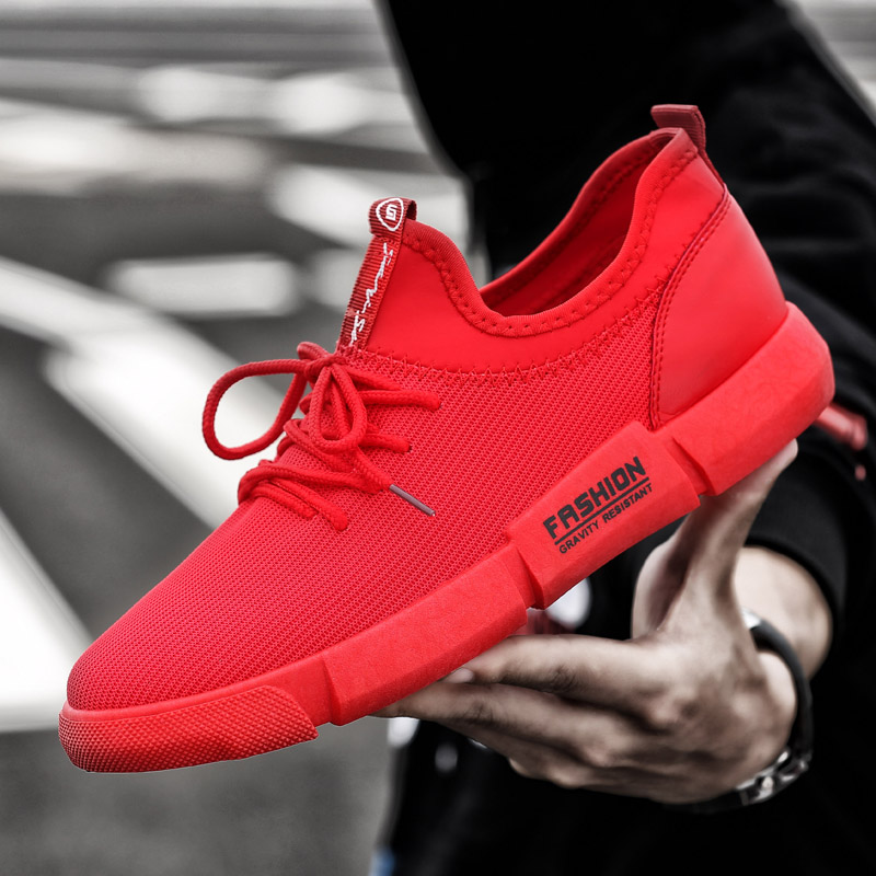 MIUBU Brand Shoes Men Tenis Masculino Adulto Sneakers Chaussure Homme Breathable Soft Casual Shoes Slip On Rubbe Red Men Shoes in Men 39 s Casual Shoes from Shoes