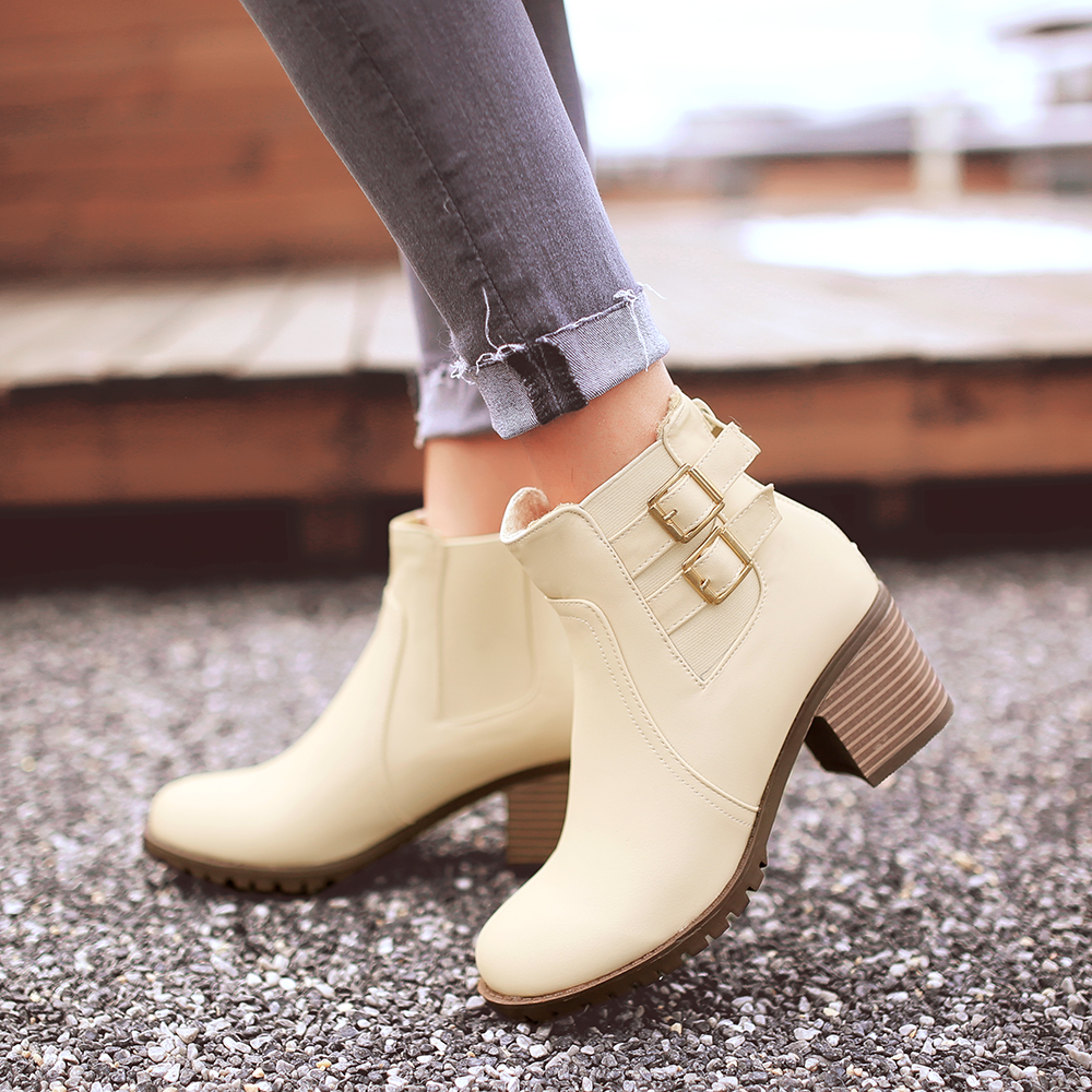 Autumn and winter women shoes vintage Europe fashion thick heel high heels Ankle boots Martin short zipper plus size