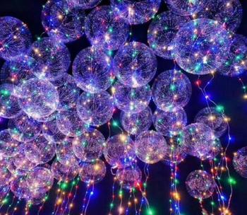 18 inch Luminous Led Balloon 3M LED Air Balloon String Lights Round Bubble Helium Balloons Kids Toy Wedding Party Decoration SL7