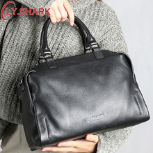 LY.SHARK Genuine Leather Bag Women Shoulder Bag For Women 2019 Handbags Women Famous Brands Ladies Hand Bags Messenger bag Black