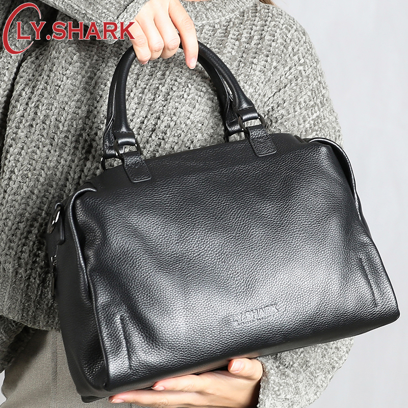 Bagaj ve Çantalar'ten Üstten Saplı Çanta'de LY. SHARK hakiki deri çanta Kadın omuzdan askili çanta Kadınlar Için 2019 Çanta Kadın Ünlü Markalar Bayanlar El Çantaları askılı çanta Siyah'da  Grup 1
