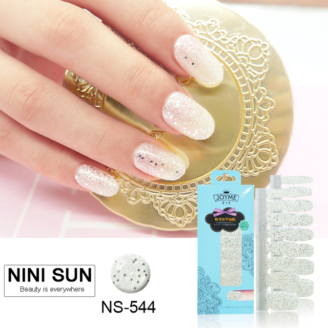 Hot New Glitter shining Strips Nail Polish Patch Stick Manicures ...