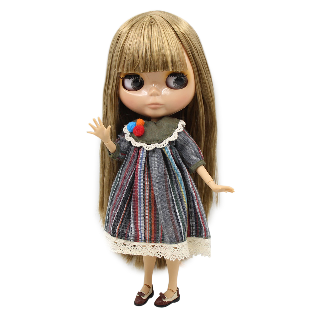 TAN skin blyth joint body 1/6 nude doll brown straight hair with bangs/fringe BJD ICY DIY 30cm girl toy No.230BL0662-in Dolls from Toys & Hobbies    1