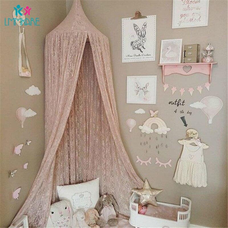 Été bébé berceau filet rose dentelle solide moustiquaires enfants lit en mousseline de soie dôme fantaisie lumière fil rideau jeu maison tente