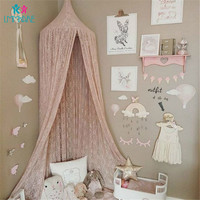 Summer Baby Crib Netting Pink Lace Solid Mosquito Nets Children Bed Chiffon Dome Fantasy Light Yarn Curtain Game House Tent