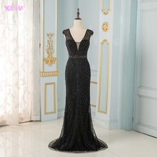 YQLNNE Fashion Black Mermaid Evening Dresses Long Tulle Beading Formal Evening Gown Robe De Soiree