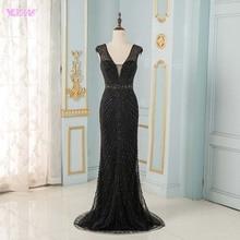 Yqlnne moda preto sereia vestidos de noite longo tule beading formal vestido de noite robe de soiree