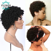 Afro Kinky Curly Short Bob Wig Machine Made Human Hair Wigs Brazilian Remy Hair With Baby Hair #1B Color 6 inches For Women