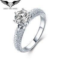 14/18 K white gold moissaniteแหวนหมั้นsynthecticแหวน