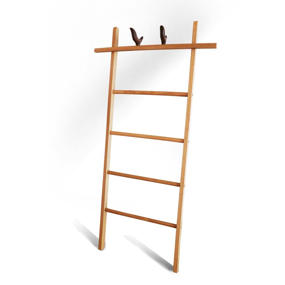 Decorative Wooden Quilt Ladder Red Oak Solid Wood Blanket