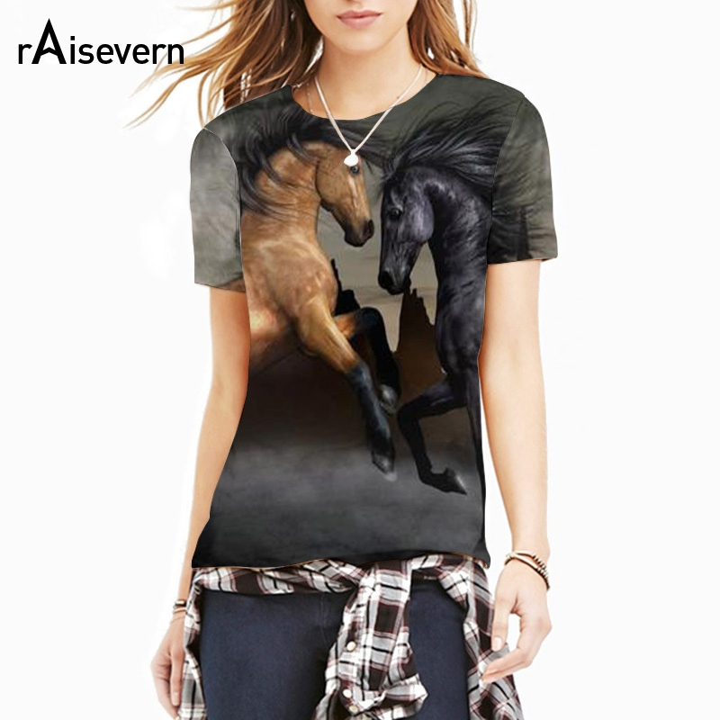 raisevern 3d horse print t shirt men women unisex summer