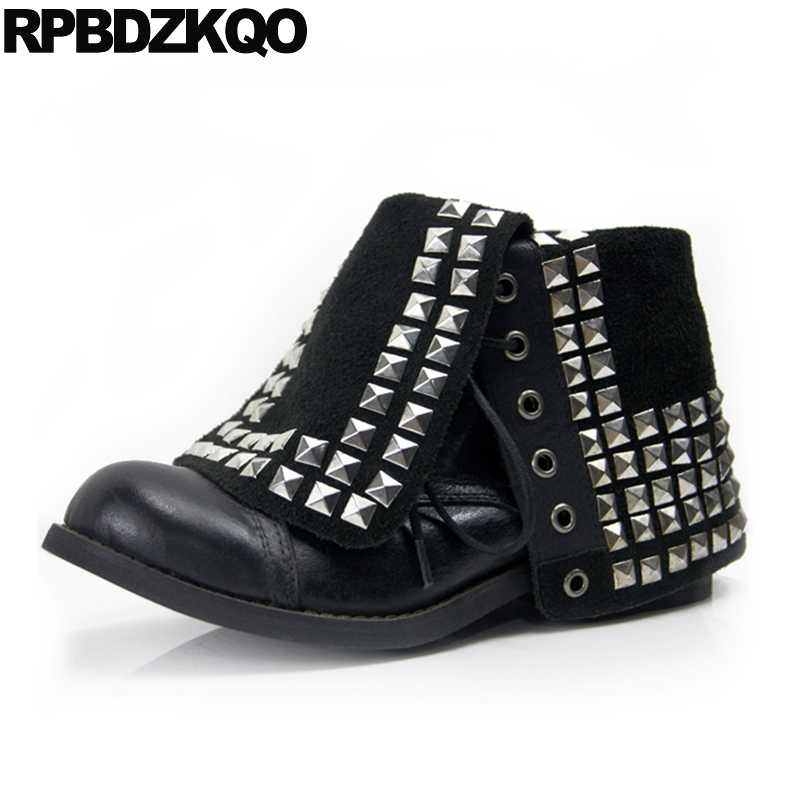 Rivet Stud Black Size 41 Punk Rock Boots Genuine Leather Lace Up Flat Brand Metal Mid Calf Women Shoes Round Toe New Fashion hot sale women shoes lace up round toe mid calf boots for women fashion print floral embellished denim shoes retro femme boots