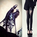 Sexy Women Faux Leather Gothic Punk Leggings Pants Bandage Lace Patchwork Adventure Time Slim Stretch Skinny Trousers Socks