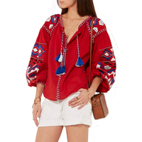 Floral Embroidered Maxican Blouse Top Autumn Long Sleeve Tassel Tie In Fronts Hippie Boho Chic Style Cotton Ethnic Womens Shirts