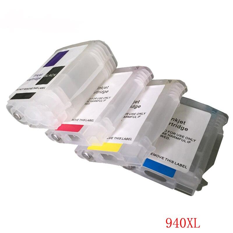 Vilaxh For HP 940 940XL Refillable Ink Cartridge 4PCS for Officejet Pro 8000 8500 8500A + hp Premium 4 Color Dye