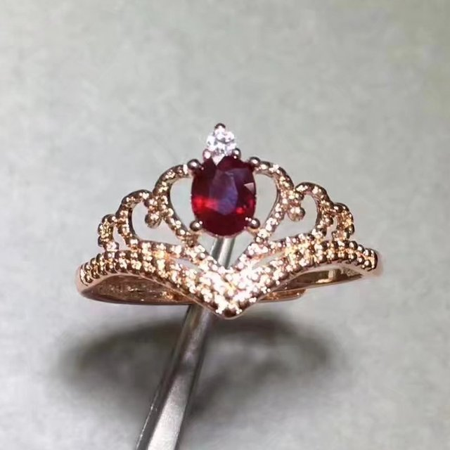 Fidelity Natural ruby stone Ring 925 sterling silver Natural 4*5mm red gemstone crown Rings noble fine Jewelry for women party