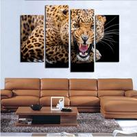 4 Panels Unframed Animal Leopard Oil Painting By Number Canvas Wall Art Hanging Picture Home Decor