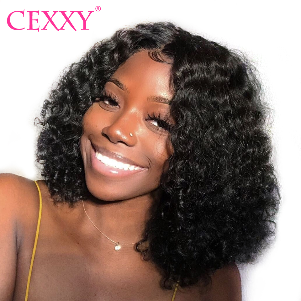 Cexxy Lace Front Human Hair Wigs Curly Human Hair Wigs Pre Plucked With Baby Hair Short Bob Wig for Women Free Shipping(China)