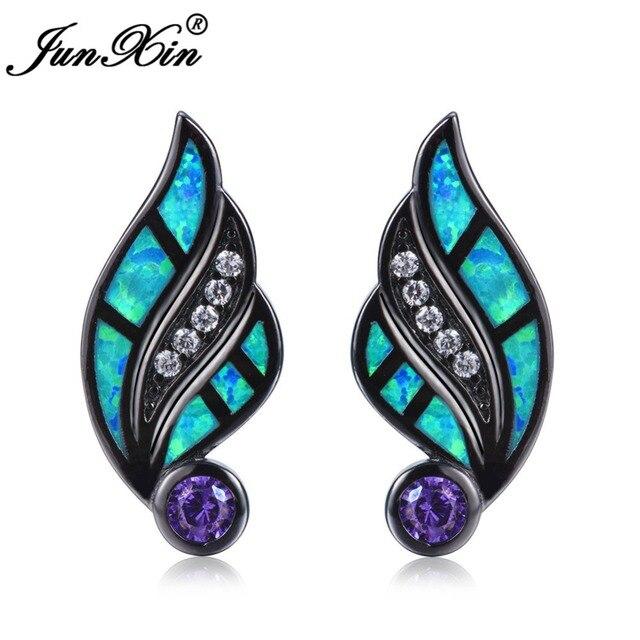 f17c3b464 JUNXIN Bohemian Angel Wing Stud Earrings Blue Fire Opal Helix Earrings Women  Vintage Black Gold Filled