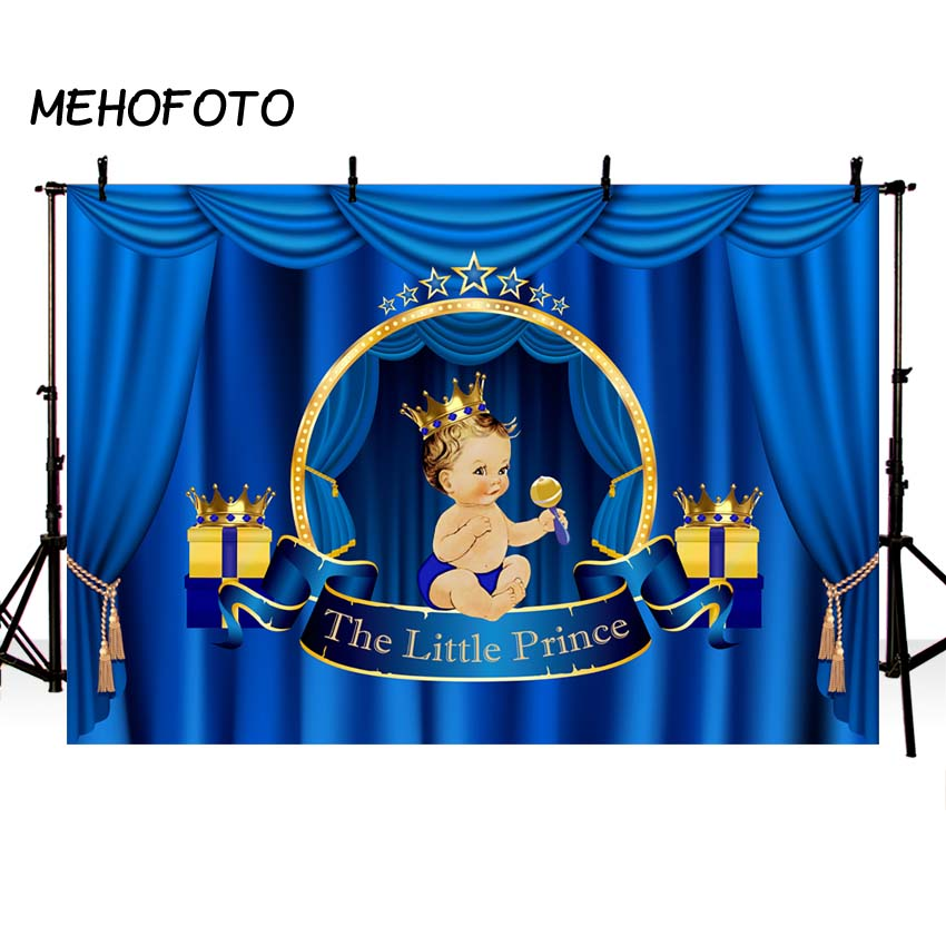 Amiable Mehofoto Royal Prince Baby Shower Photography Backdrops Blue Gender Reveal Party Photo Booth Background Cake Table Decor Camera & Photo