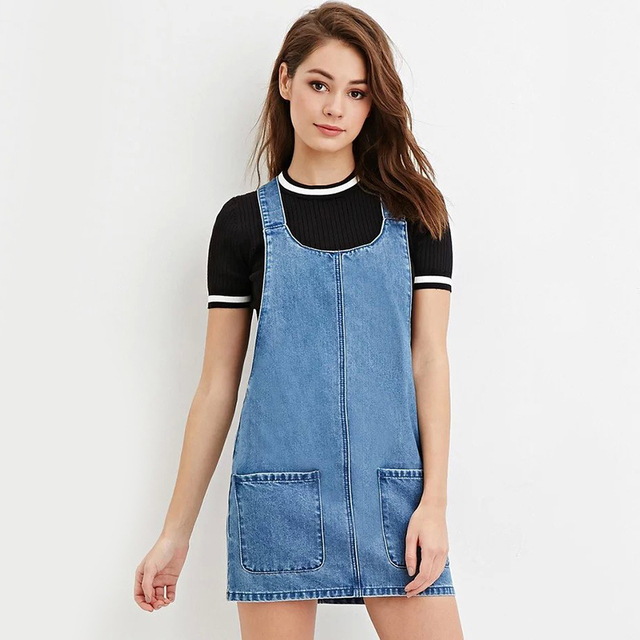 2016 Women Sleeveless Denim Dresses Overalls Summer Jeans