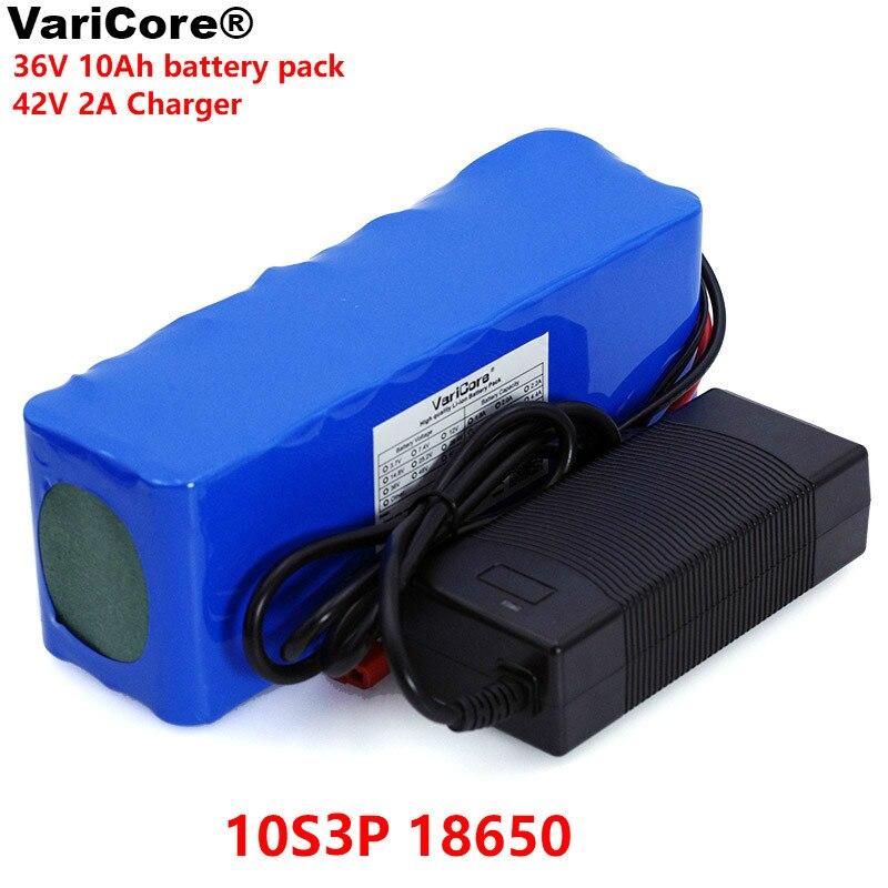 Batterie Rechargeable VariCore 36 V 10Ah 10S3P 18650, vélos modifiés, Protection BMS pour véhicule électrique + chargeur 42 V