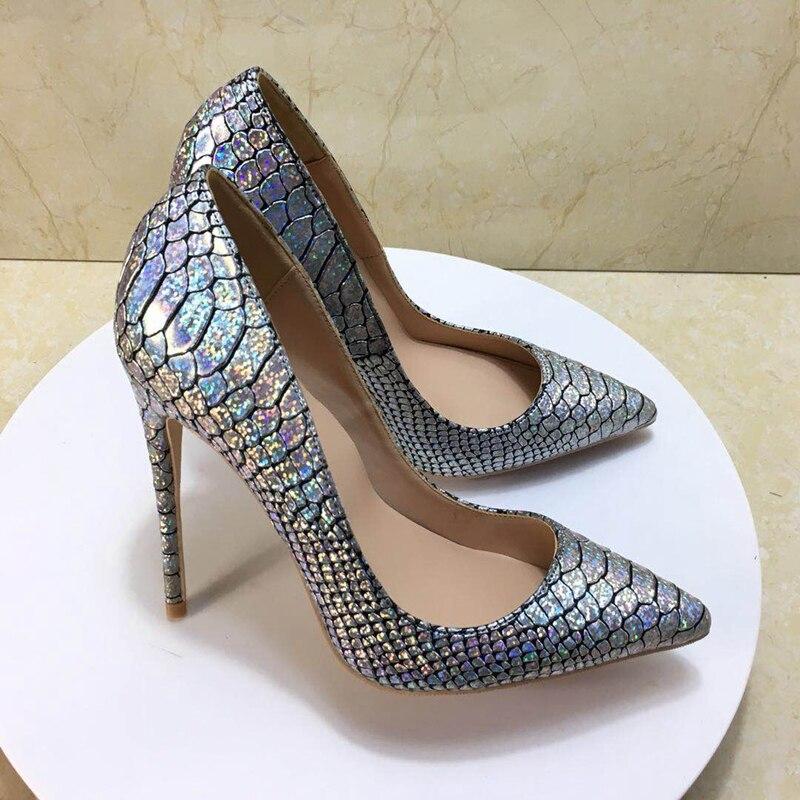 2018 새로운 스타일 크기 35 43 높은 굽된 숙 녀 펌프 얕은 지적 발가락 여자 신발 파티 신발 슬립에 pu 가죽 결혼식 신발-에서여성용 펌프부터 신발 의  그룹 1