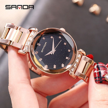 SANDA Rose Gold Watch Women Quartz Watches Ladies Top Brand Luxury Rhinestone Female Wrist Girl Clock Relogio Feminino New