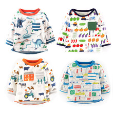 Jumping meters branded cotton Tshirts for toddler boys wear long sleeve all printed animals lovely tops & tees boy